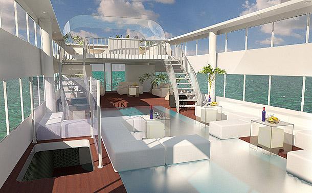 3d visualisatie van plezierboot dreamzz for Afbeeldingen interieur